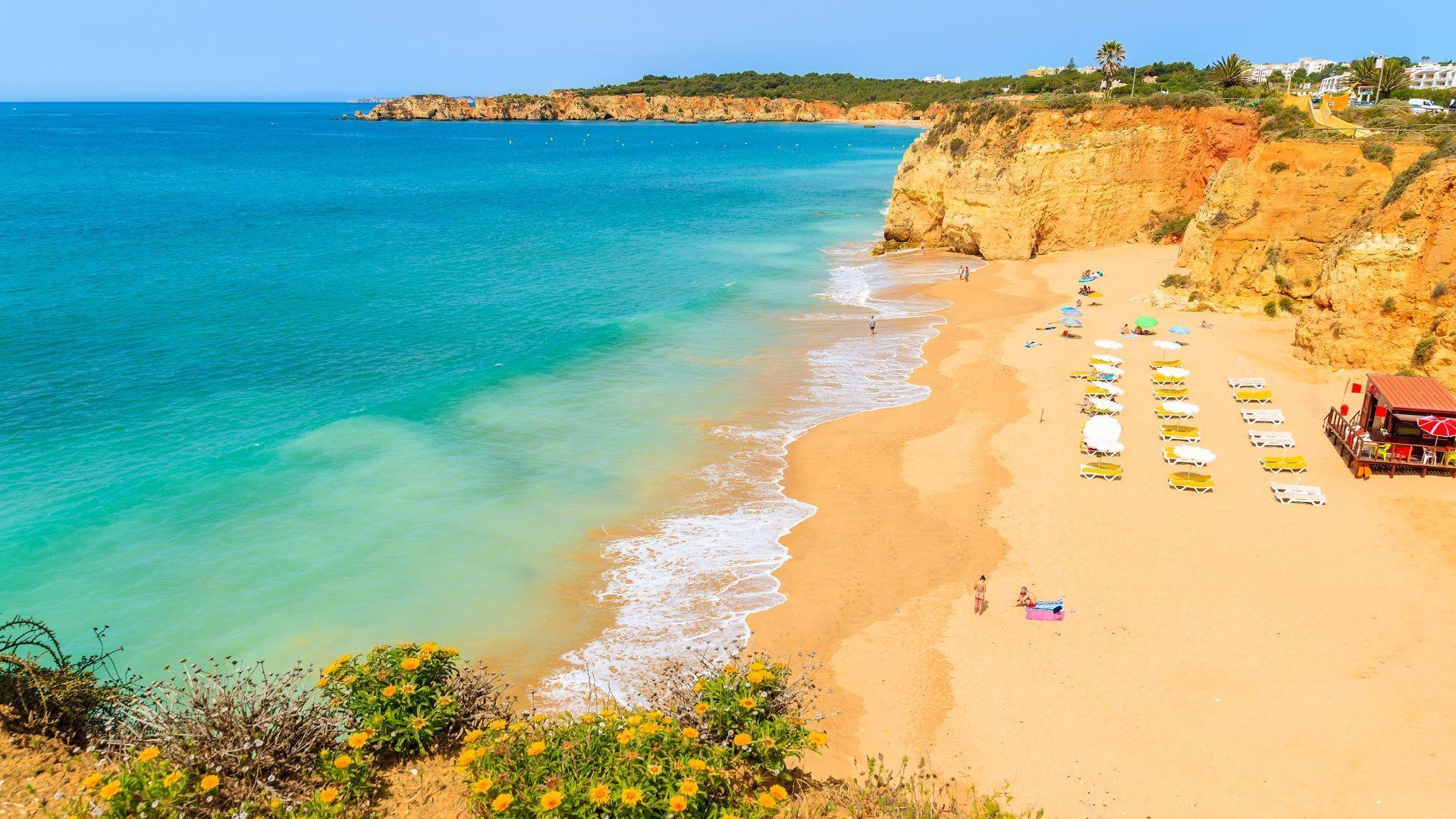 Auksaspalvės Praia de Rocha uolos