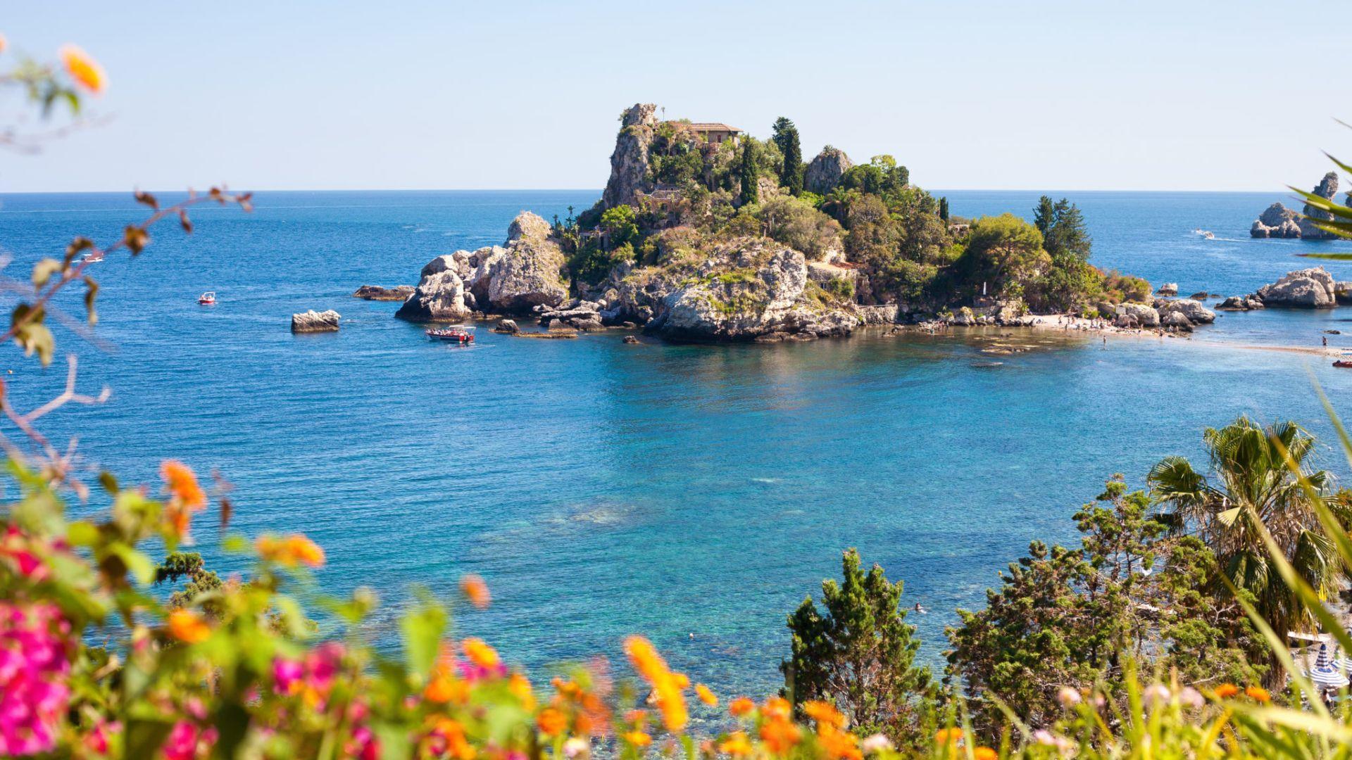 Sicilija, Taormina, Baia di Isola Bella paplūdimys