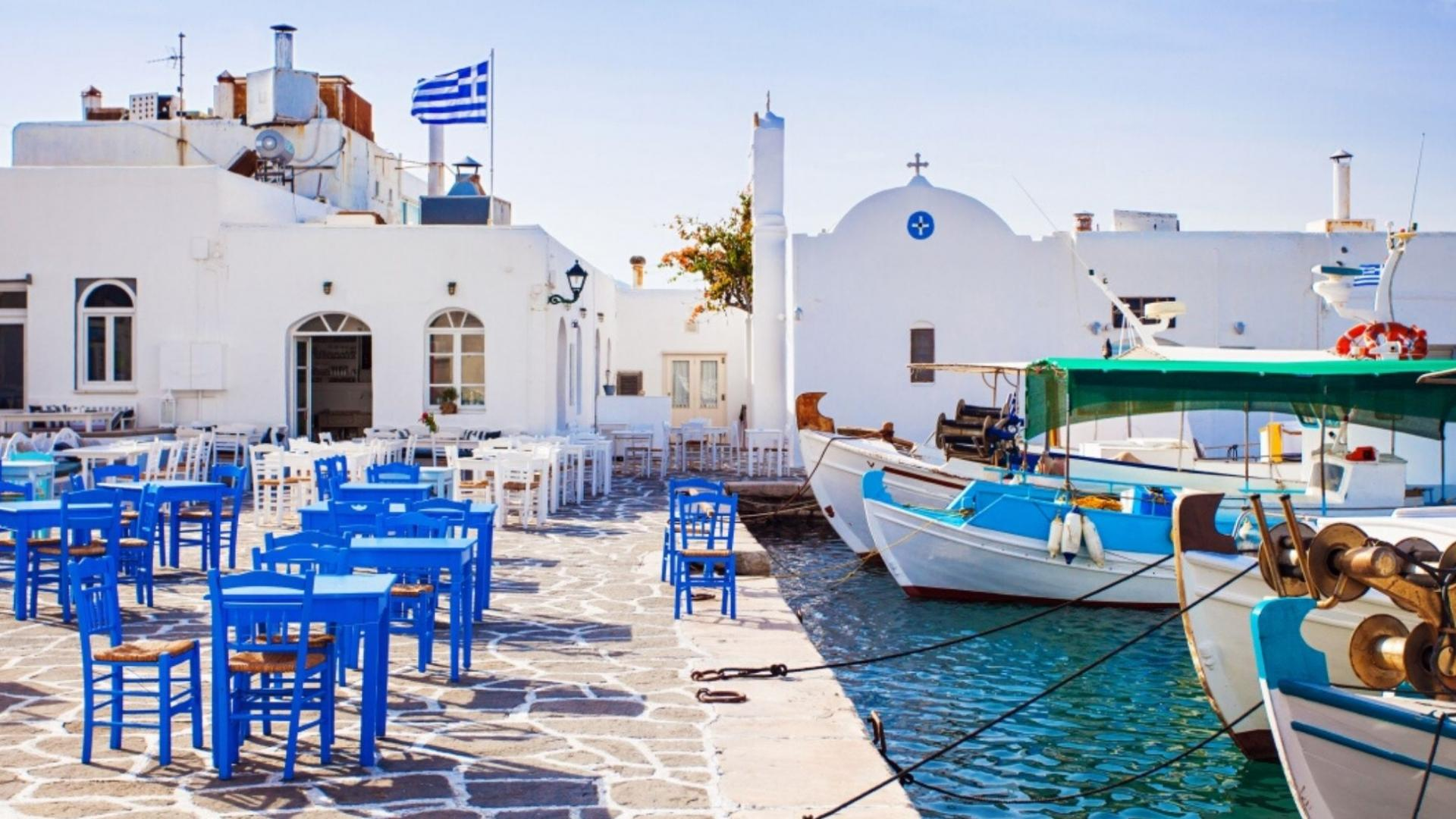 Graikiškoje spalvų paletėje susipina baltos ir mėlynos atspalviai