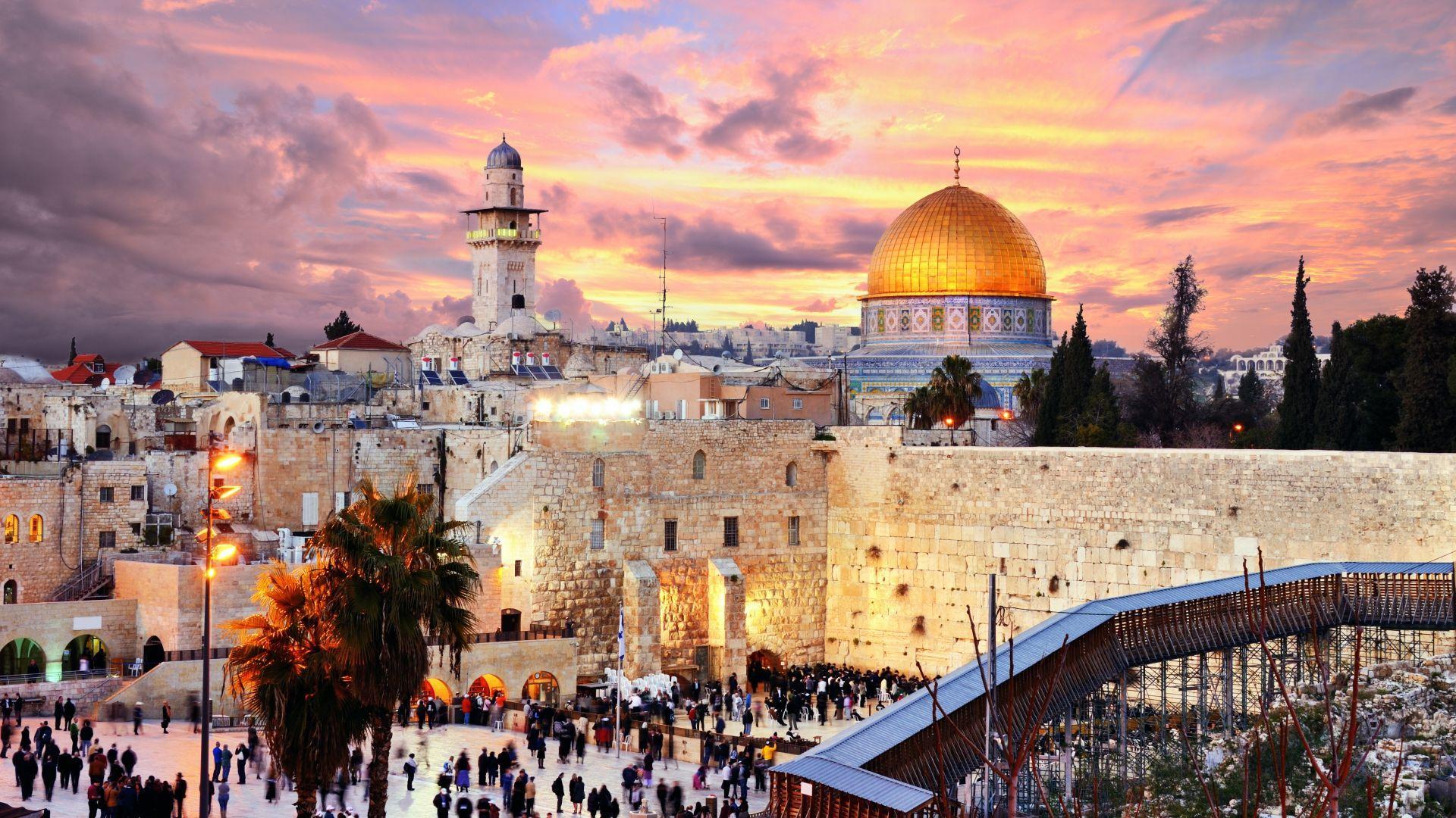 Jeruzalės senamiesčio peizažas nuo Šventyklos kalno