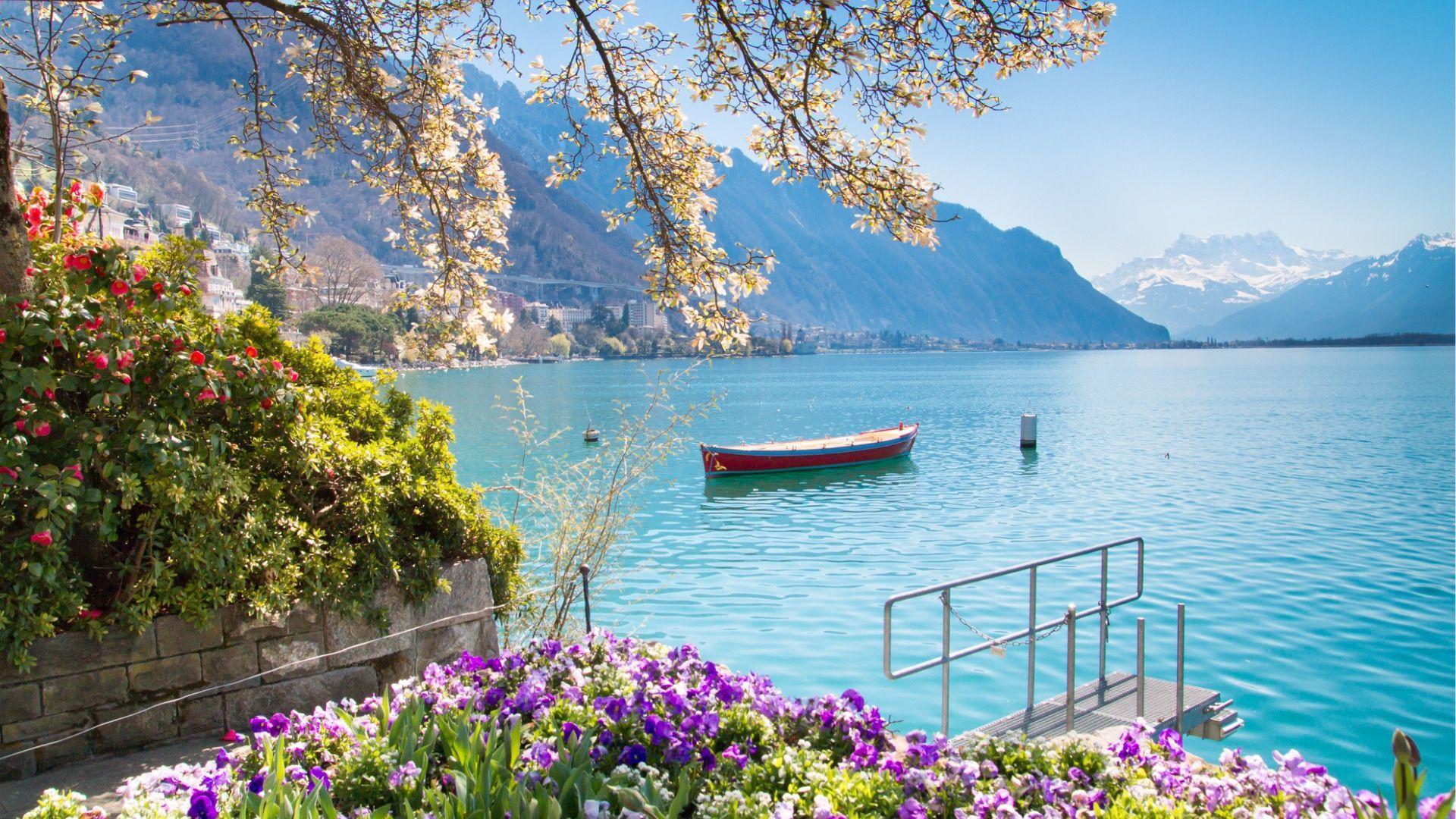 Romantika alsuojantis Ženevos ežeras, Montrė, Šveicarija